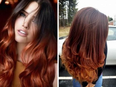 Shatush rosso rame su capelli castani